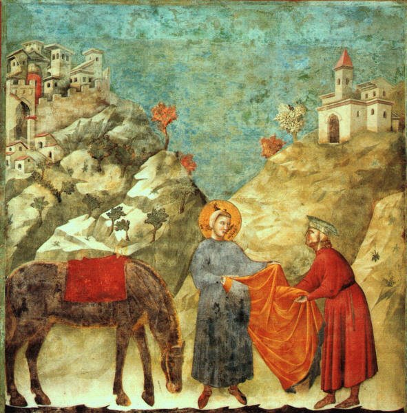 Giotto - Legend of St Francis - -02- - St Francis Giving his Mantle to a Poor Man