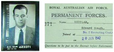 Photograph of Whitlam and attestation paper from his RAAF officer personnel file dated 1942 Gough Whitlam attestation paper (Royal Australian Air Force).jpg