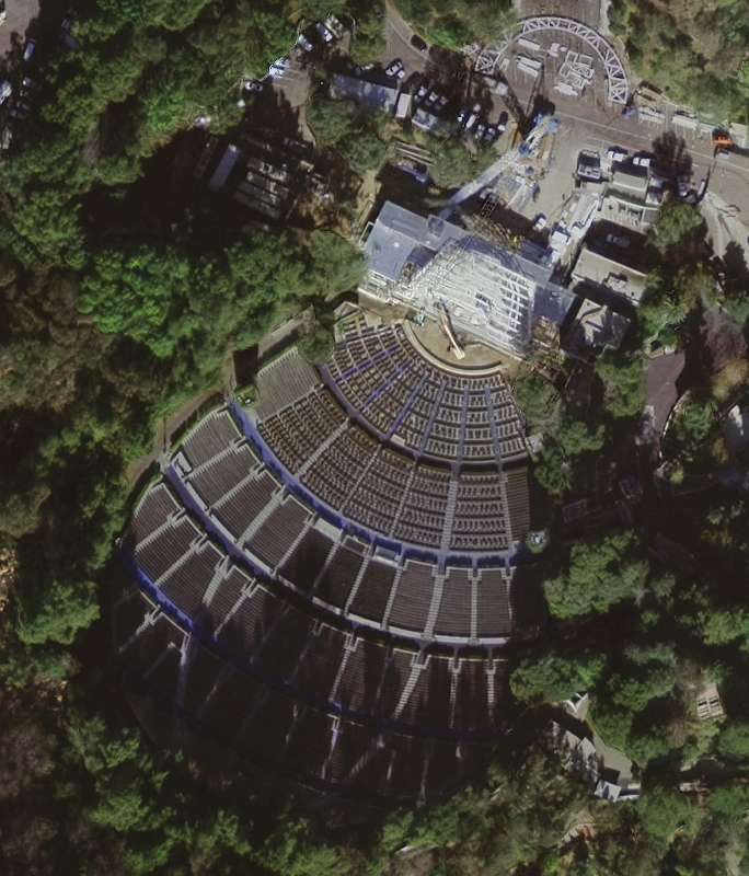 Satellite image showing the seating in front of the Hollywood Bowl