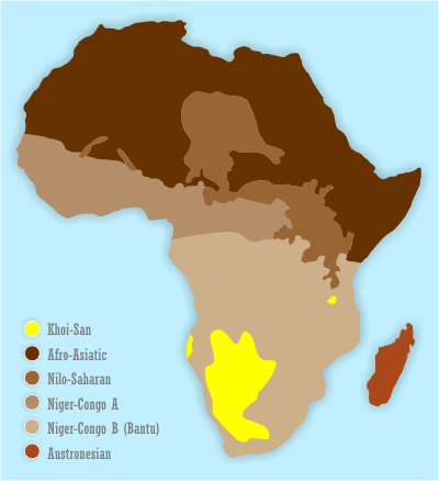 Map showing the distribution of the Khoisan languages (yellow)
