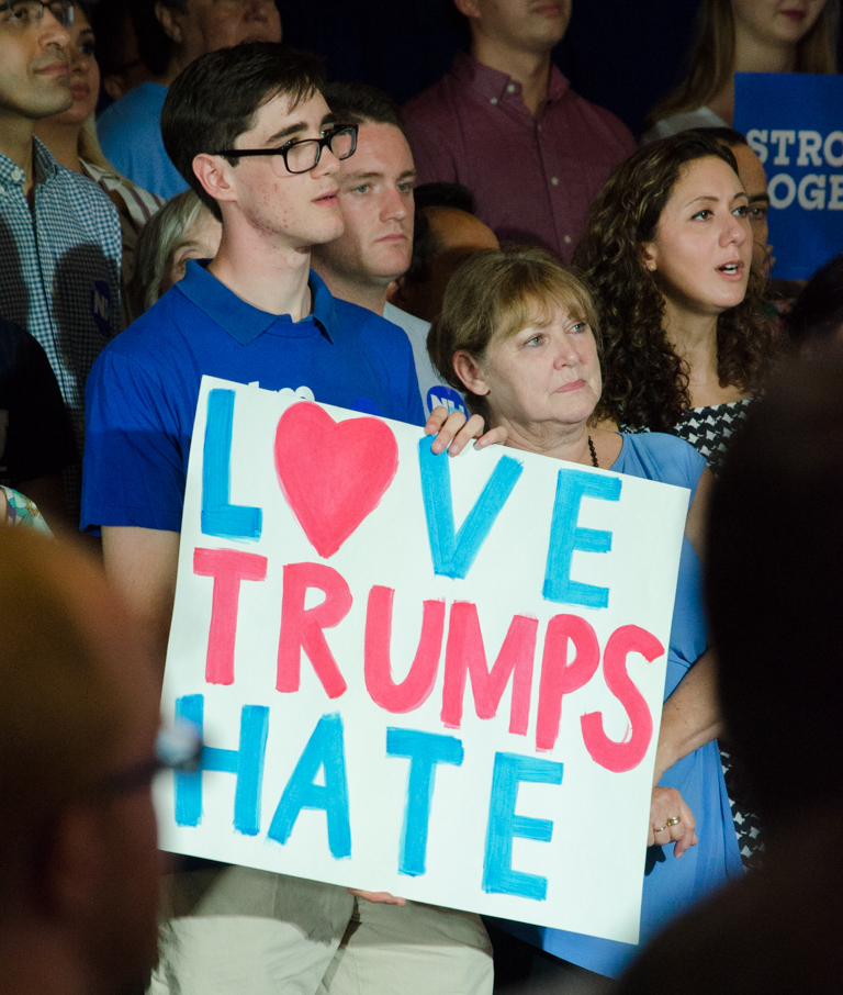 File:Love Trumps Hate at Clinton Kaine rally Aug 2016.jpg - Wikimedia  Commons