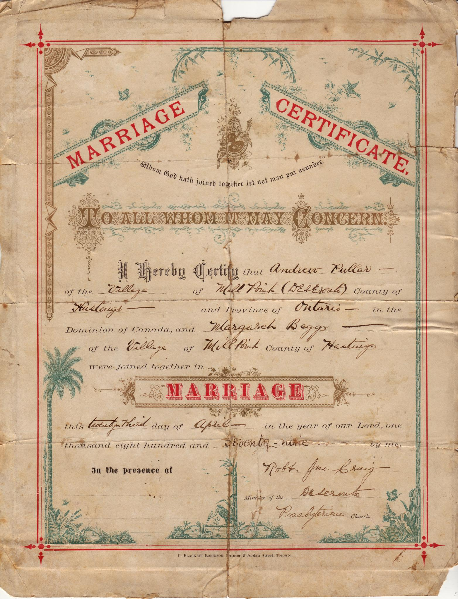 Filemarriage Certificate Of Andrew Pullar And Margaret Beggs