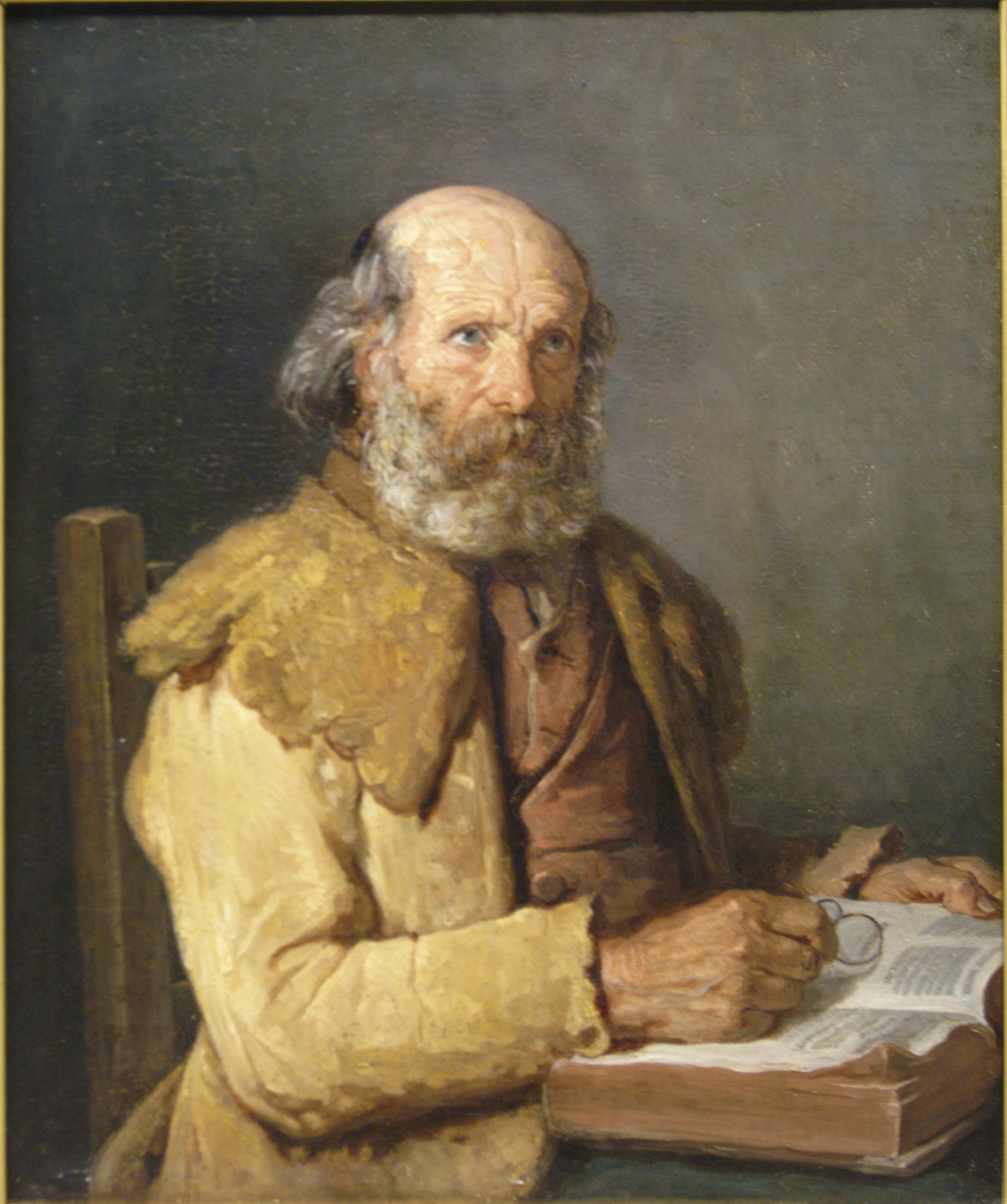 Vieux breton faisant une lecture - Monanteuil