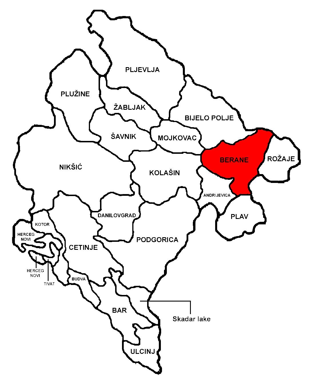 Location of Berane in Montenegro