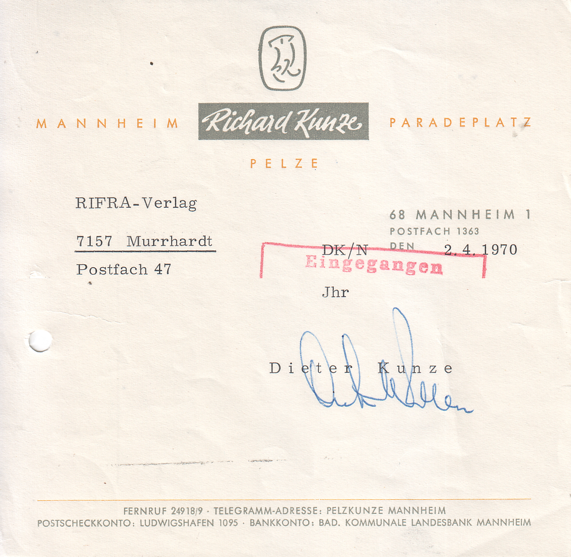 Filepelzhaus Richard Kunze Mannheim 1970 Briefkopfjpg