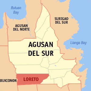 Map of Agusan del Sur showing the location of Loreto