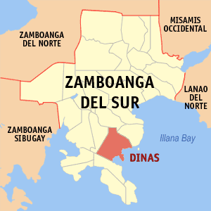 Map of Zamboanga del Sur showing the location of Dinas