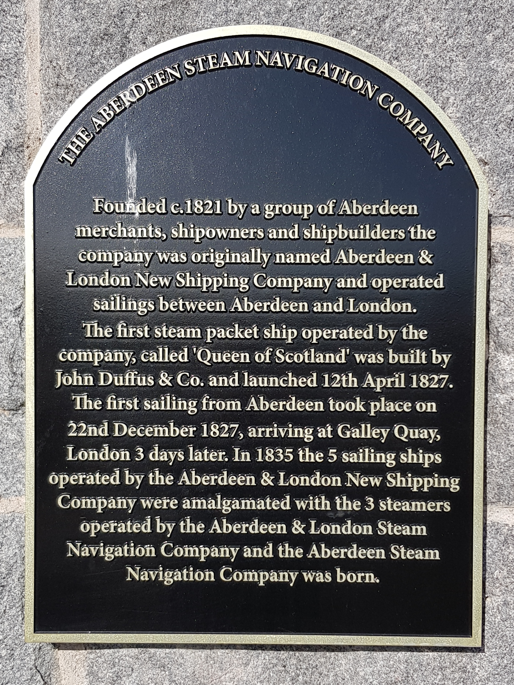Plaque two Aberdeen Steam Navigation Company.jpg English: Commemorative plaque to the Aberdeen Steam Navigation Company on Waterloo Quay Date 13