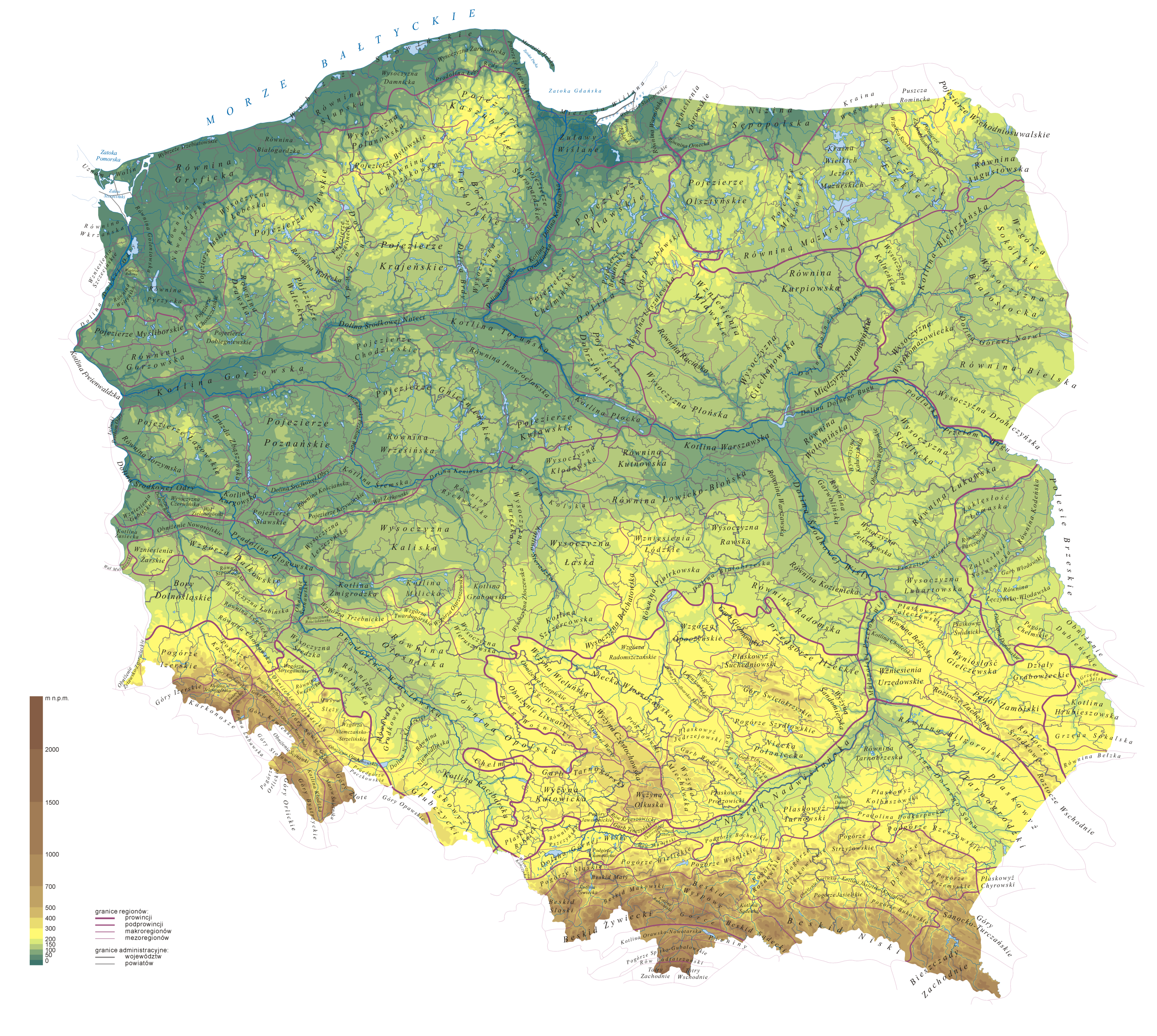 Regiony Kondrackiego hipsometriapng Atlas of Poland Wikimedia