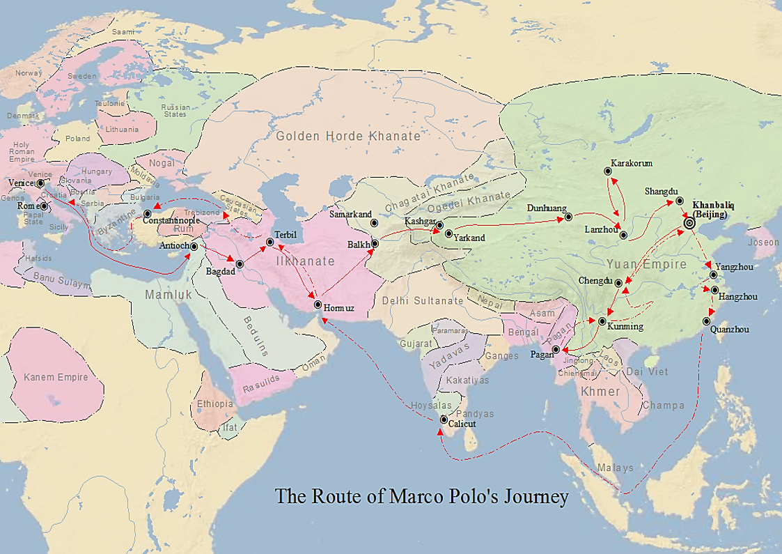 Marco Polo - Wikipedia on khanbalik map, world map, chagatai khanate map, shangdu map, khitan map, william of rubruck map, cambaluc on map, xanadu map, burkhan khaldun map, changan on map, mongols map, ilkhanate of persia map, ibn battuta map, grand canal in asia map, ancient south east asia dynasty map, yinxu map, sarai map, zhoukoudian map, xianyang map, the safavid dynasty on map,