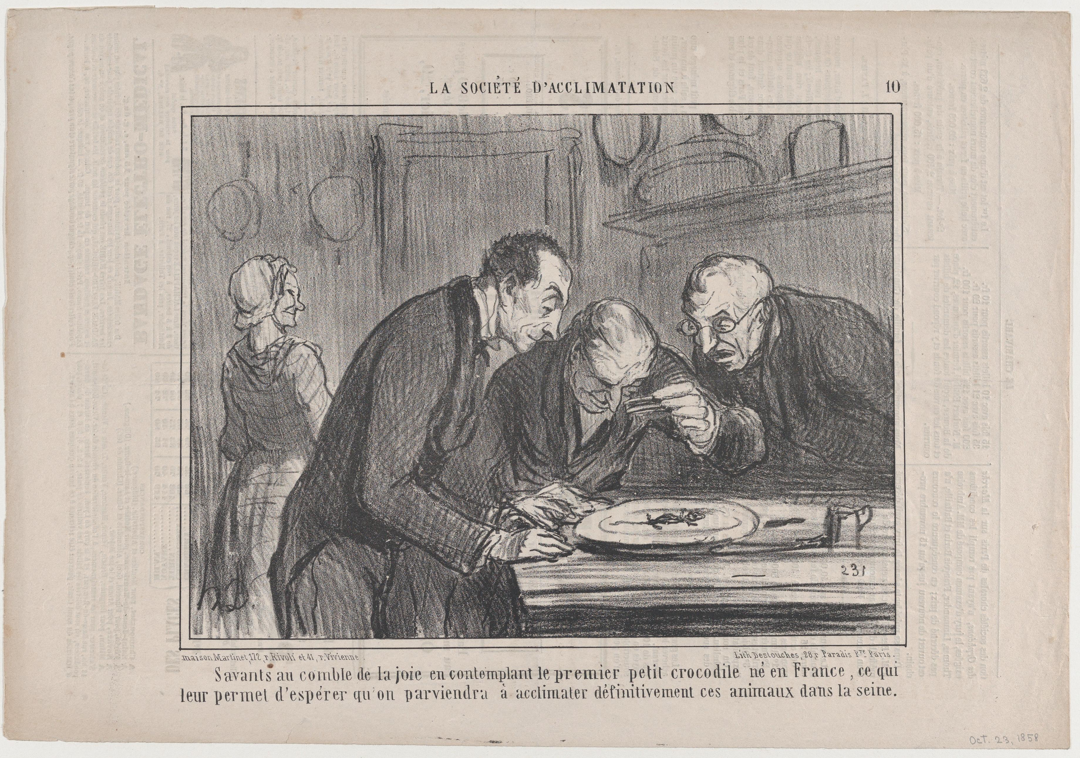 File:Savants Au Comble De La Joie En Contemplant Le Premier Petit Crocodile  Né E France..., From La Société Du0027Acclimatations, Published In Le  Charivari, ...