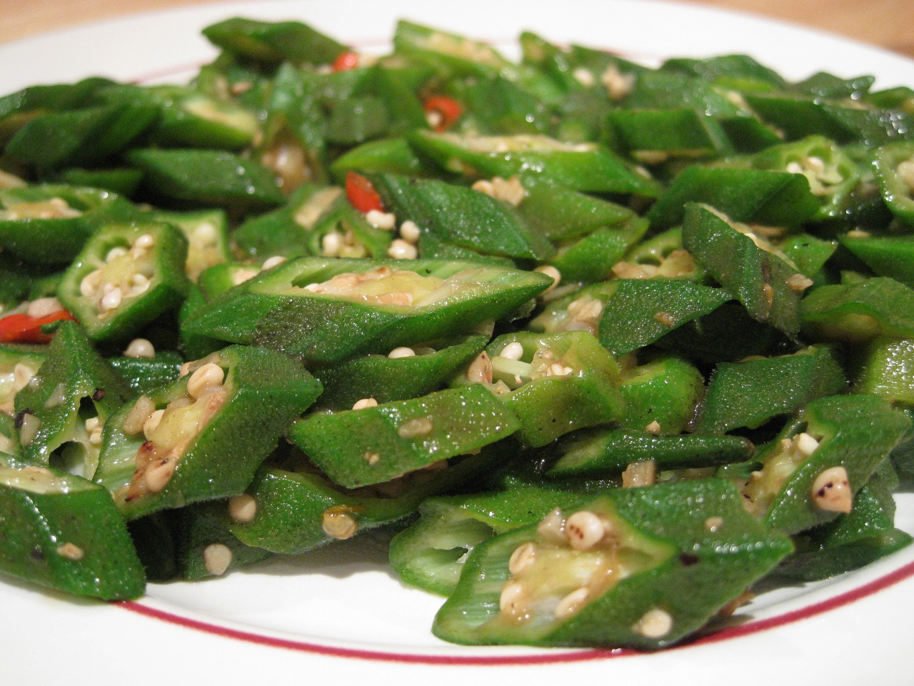 File stir fried okra wikimedia commons for Gombo ricette