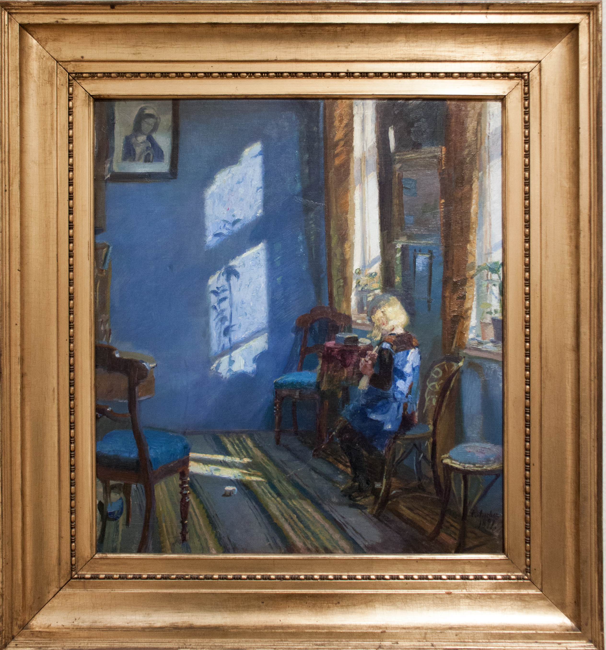 File:Sunlight in the blue room, by Anna Ancher, with frame.jpg ...