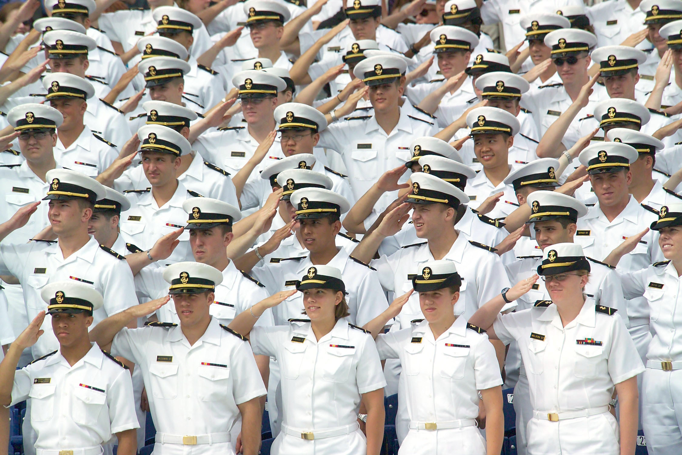 File:US Navy 040528-N-2383B-006 Midshipmen stand and salute the colors