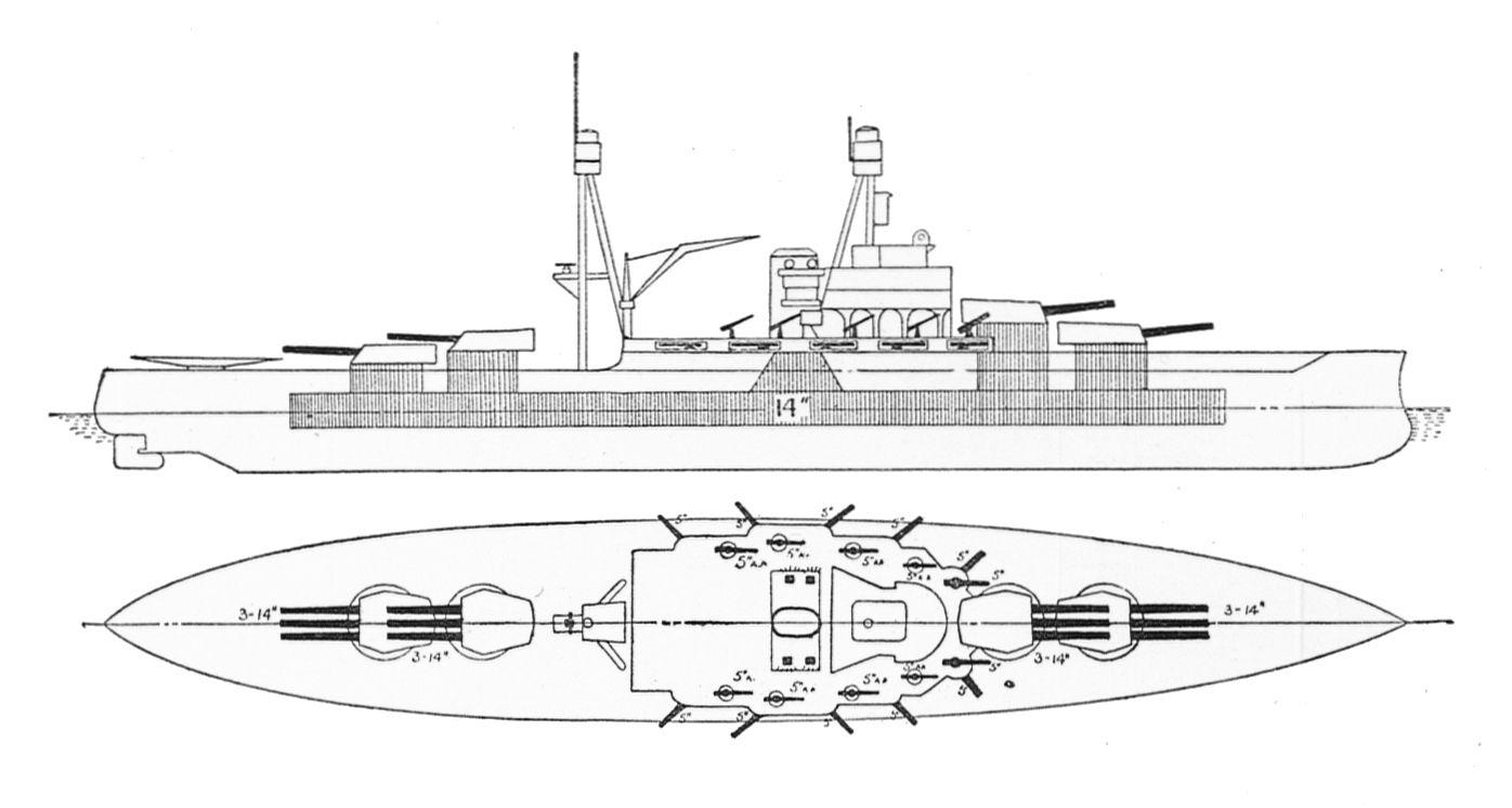 File:US battleships Arizona & Pennsylvania, outline (Warships To-day ...