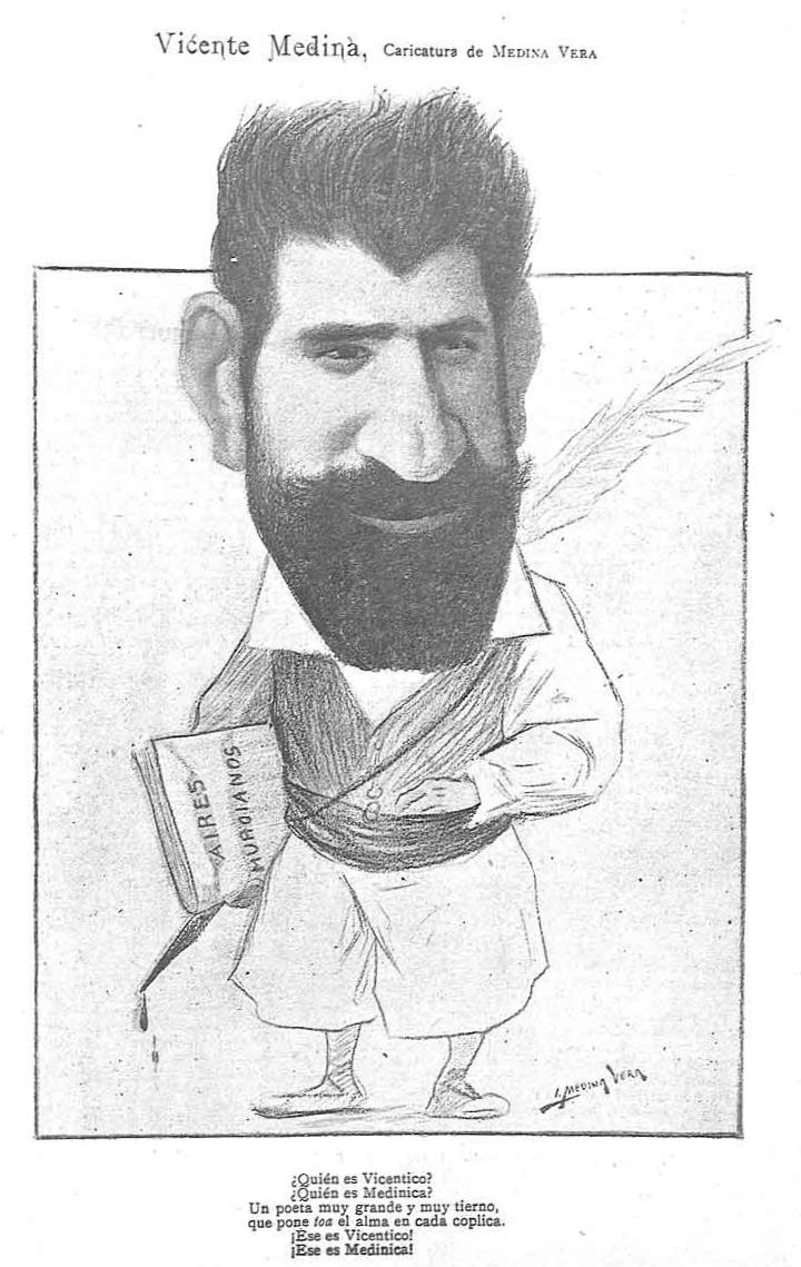 Caricaturizado por Medina Vera en Madrid Cómico(1900)