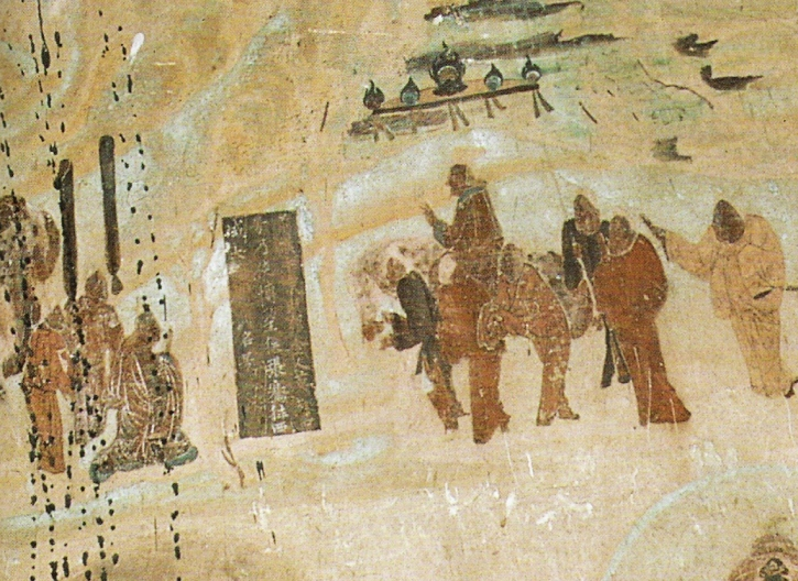 Emperor Wu dispatching Zhang Qian to Central Asia from 138 to 126 BCE, Mogao Caves mural, 618-712 CE (Wikimedia Commons)