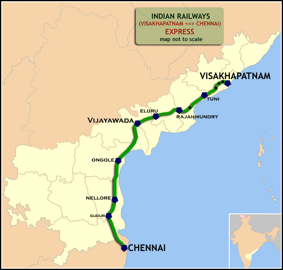 Visakhapatnam–Chennai Central Express - Wikipedia on boston map direction, india map direction, street map direction,