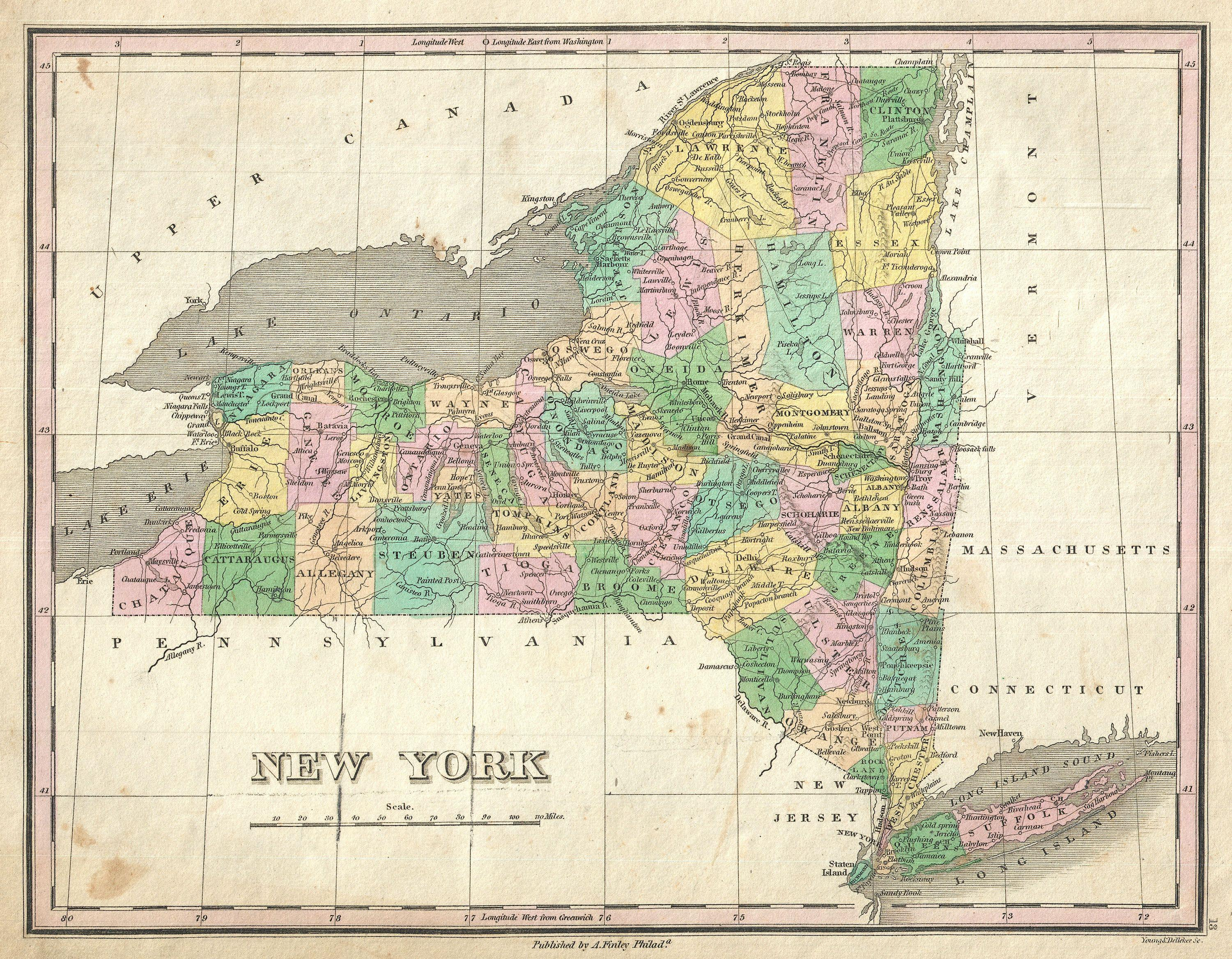 File:1827 Finley Map of New York State - Geographicus - NewYork ...