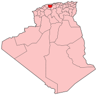 Map of Algeria showing Ain Delfa province