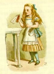 Alice in Wonderland, Drink me by John Tenniel.jpg