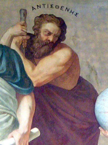 Antisthenes, part of a fresco in the National University of Athens Antisthenes Lebiedzki Rahl.jpg