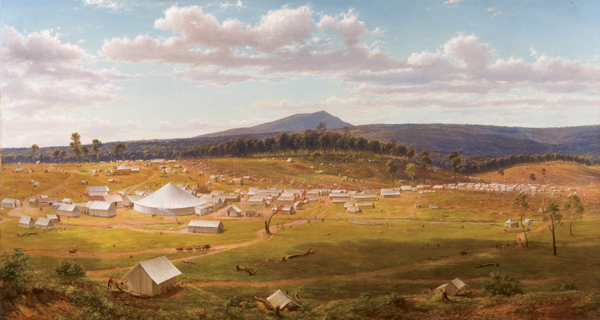 Ballarat's tent city just a couple of years after the discovery of gold in the district. Oil painting from an original 1853 sketch by Eugene von Guerard.