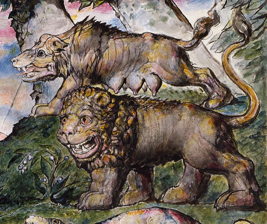 Blake - Lion & Wolf from Dante's Divine Comedy object 1 (Butlin 812-1).jpg