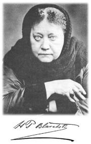 Fotografia com a assinatura de Helena Blavatsky.