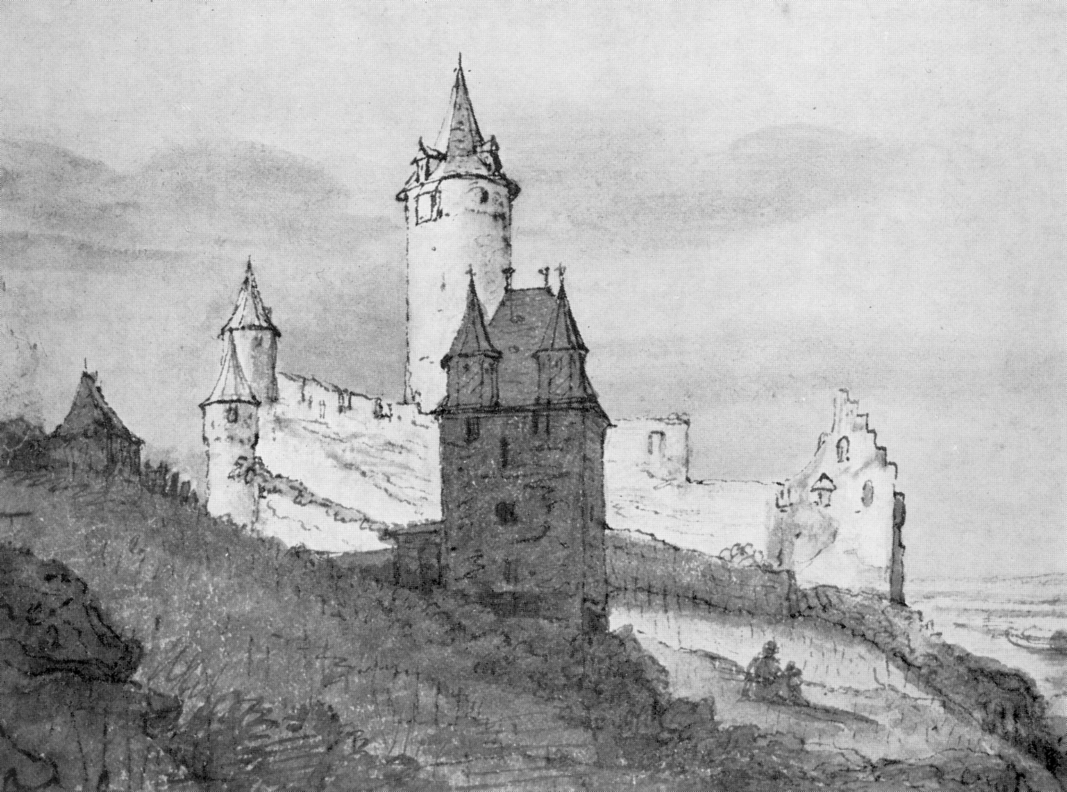 Tall Castle Drawing Stahleck Castle in 1663