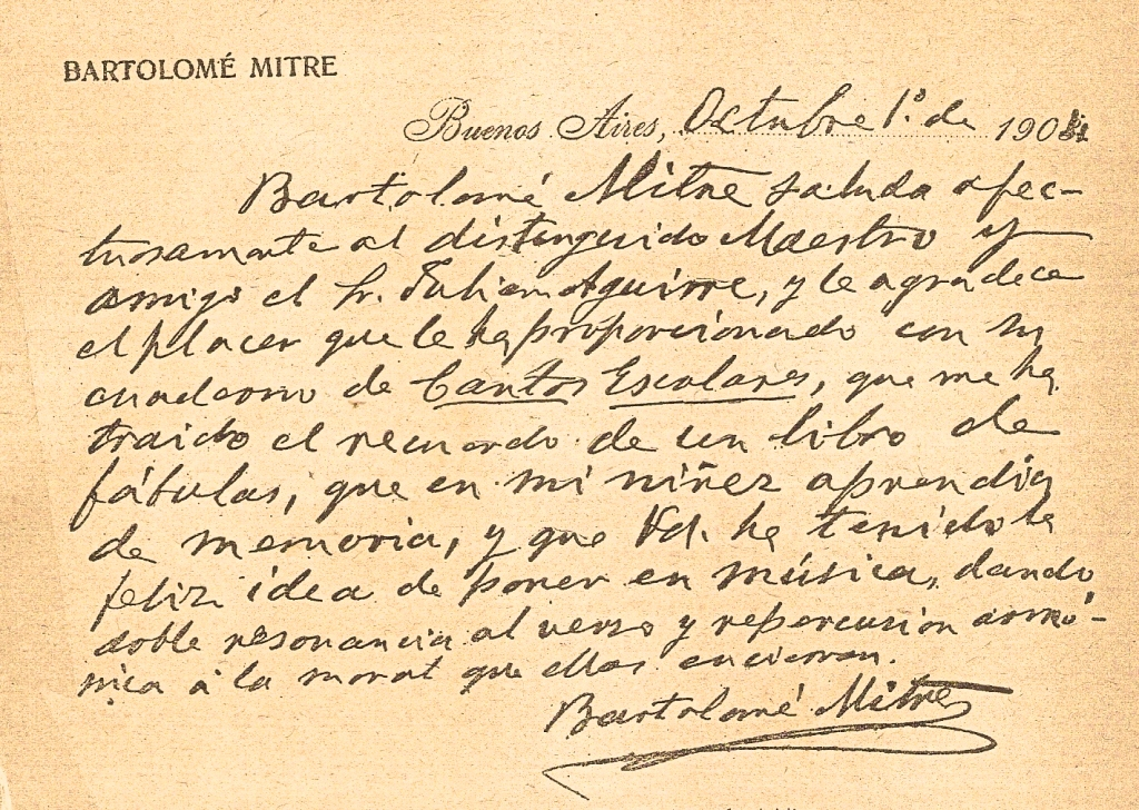Facsímil de la carta que envió Bartolomé Mitre al compositor Julián Aguirre.