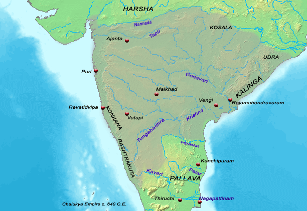 Chalukya Territories during Pulakeshi II c. 640 C.E.