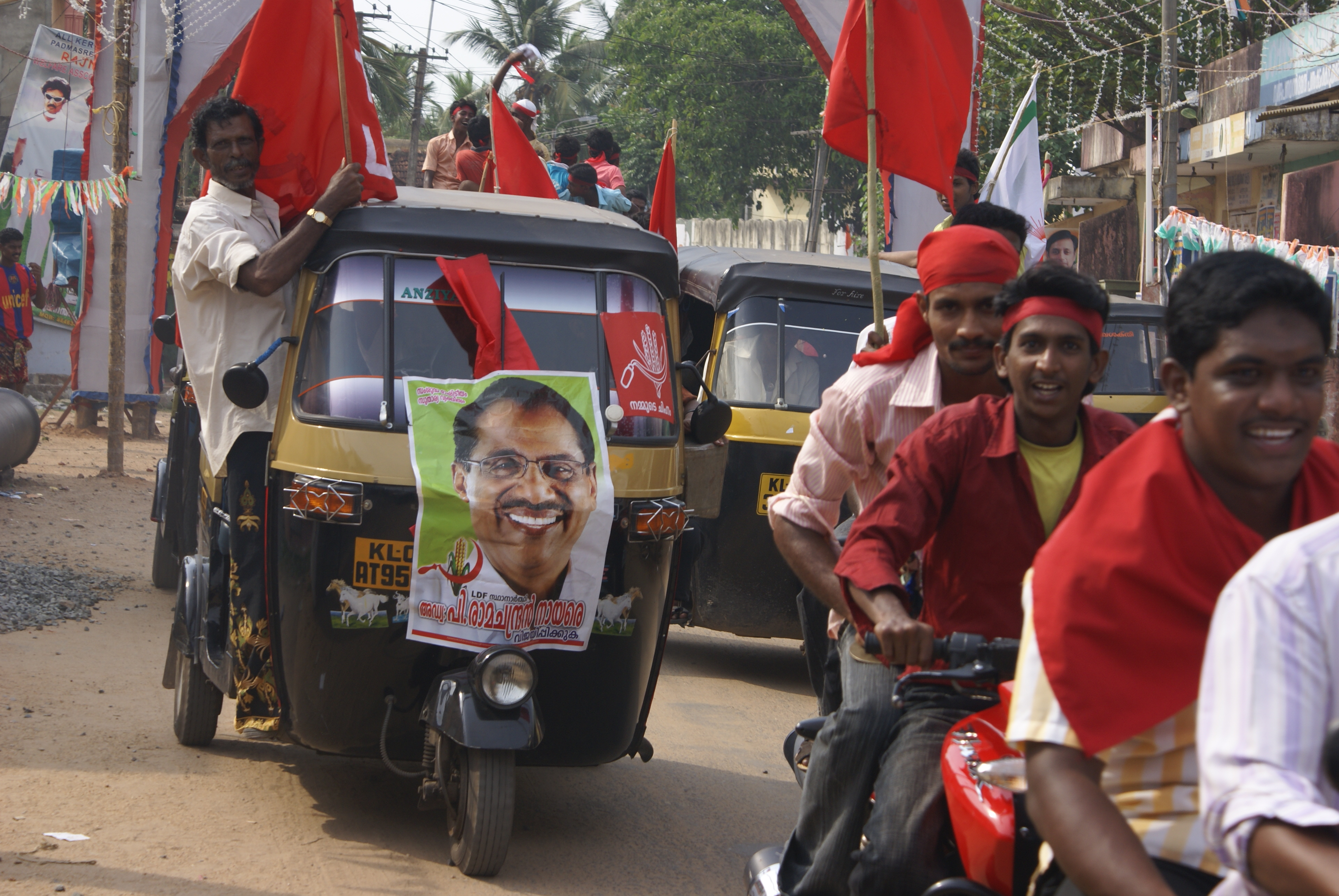 Communist party supporters during the Indian general elections, 2009.
