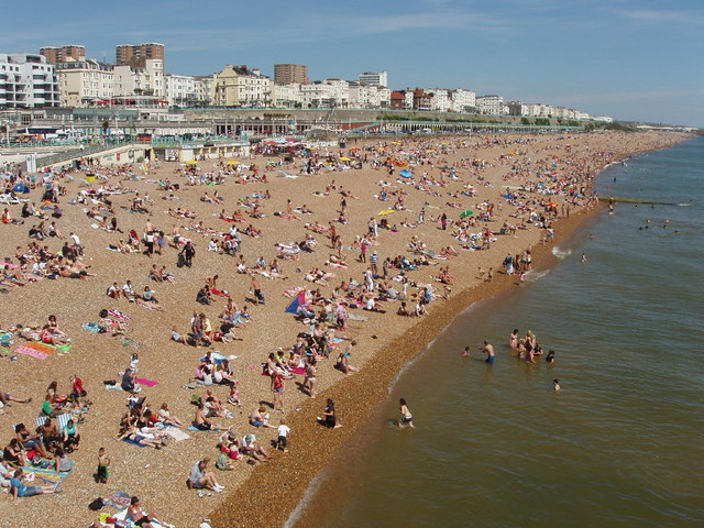 Crowded Brighton beach east of Palace Pier - geograph.org.uk - 1338809
