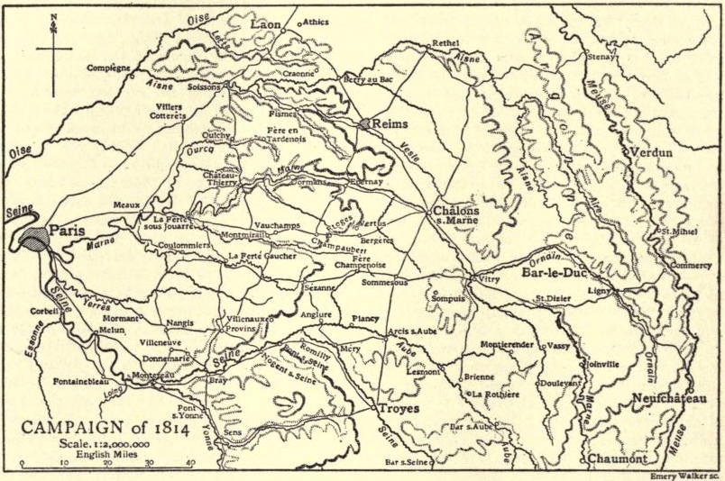 Campaign of 1814 map shows Brienne on the Aube at lower right center, northwest of Chaumont. EB1911-19-0232-a-Napolonic Campaigns, Campaign of 1814.jpg