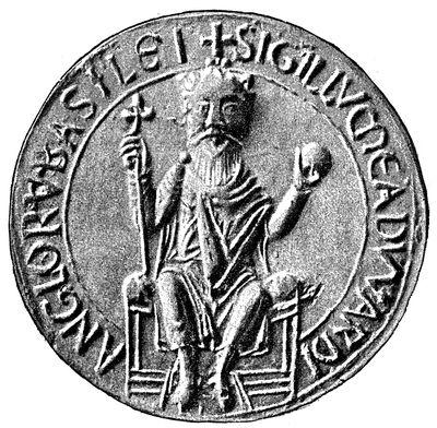 Edvards segl: SIGILLVM EADWARDI ANGLORVM BASILEI (segl for Edvard kronet til englendernes konge)