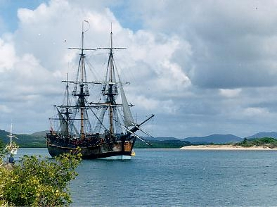 A replica of Cook's ship Endeavour, which helped him become the first European to sail to Australia. (3)