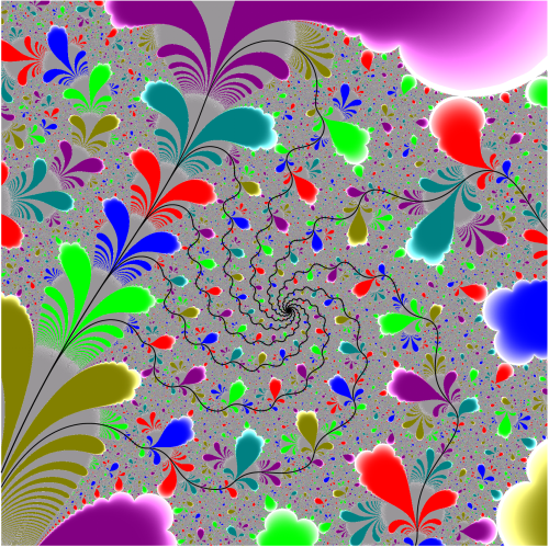 parameter space of the complex exponential family f(z)=exp(z)+c. The parameter in the middle of the picture is postsingularly preperiodic (PSP). Eight parameter rays landing at this parameter are drawn in black. The bifurcation locus is grey, while hyperbolic components are shown as colored regions.