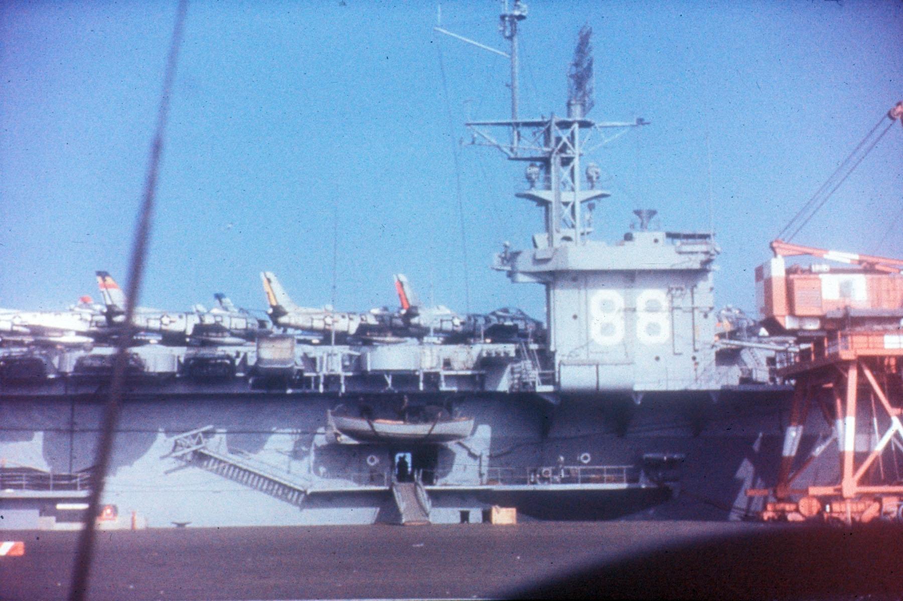 First_F-86s_arrive_in_Korea_on_USS_Cape_