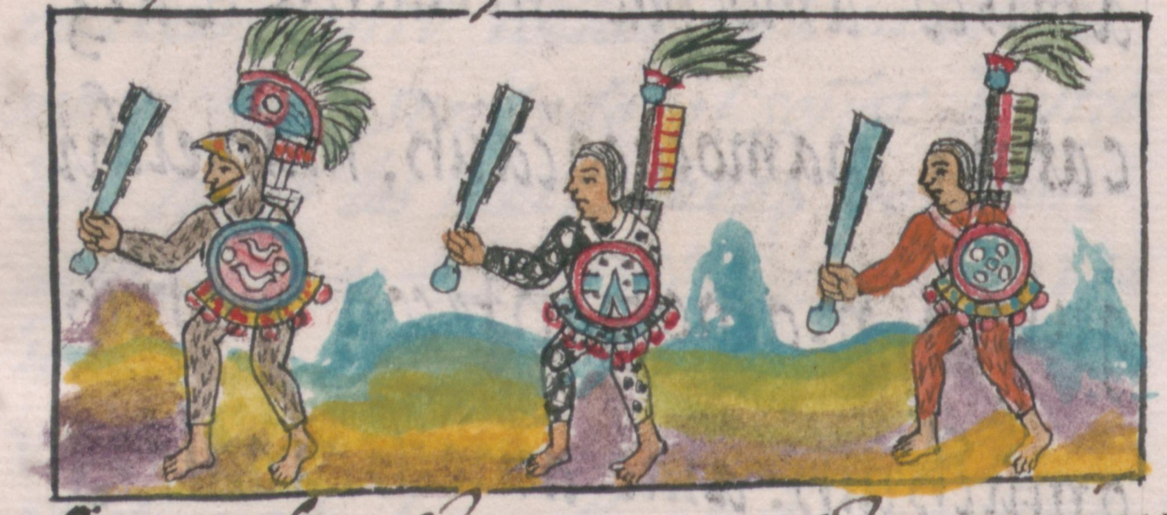 Aztec warriors as shown in the 16th century Florentine Codex