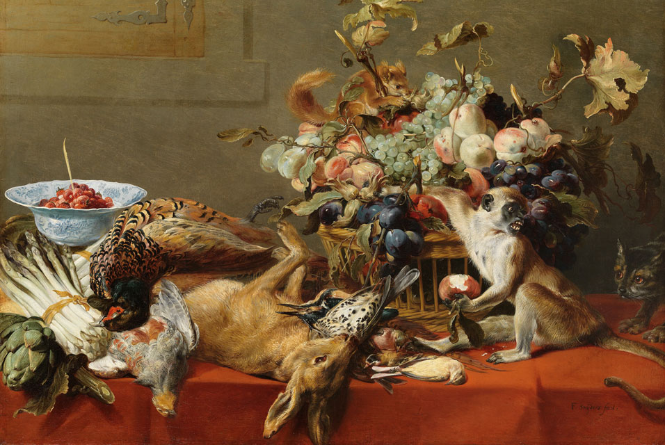 Frans Snyders (1579–1657), Still Life with Fruit, Dead Game, Vegetables, a Live Monkey, Squirrel and Cat. Oil on canvas - Jan Behang