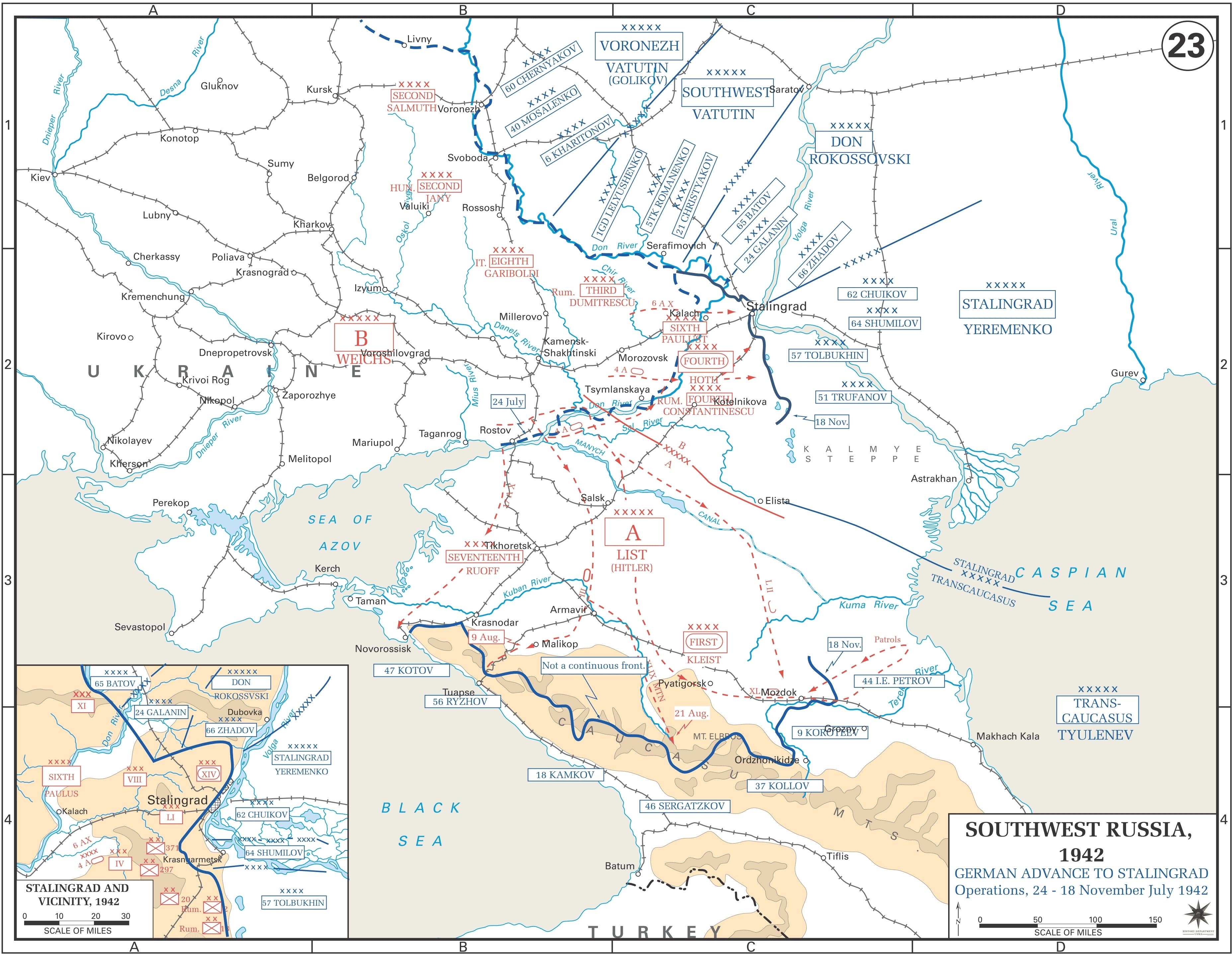 Mapa de la zona de Stalingrado