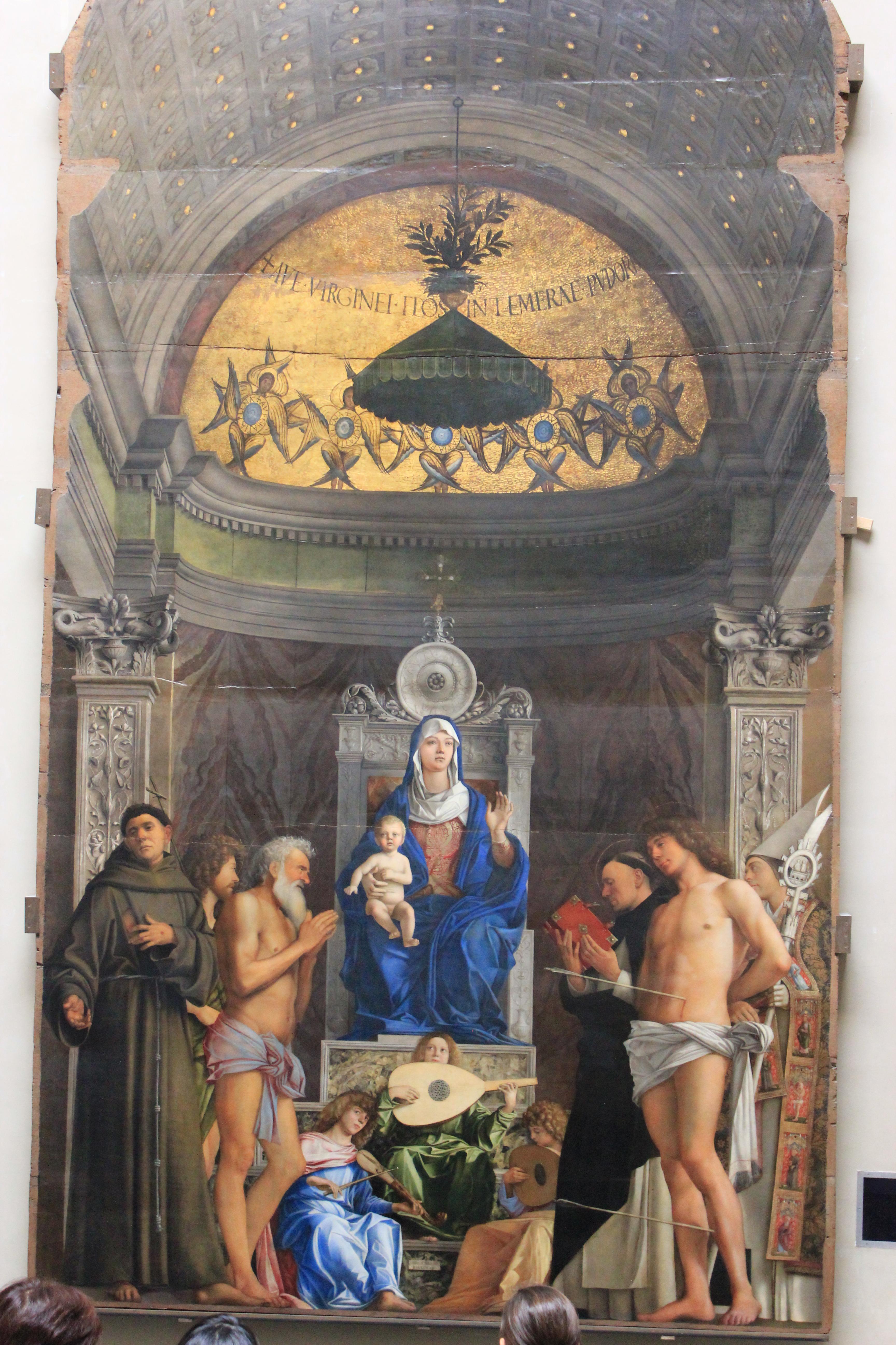 Giovanni Bellini (ca 1430-1516): Pala di San Giobbe («Altertavle for St Job) (ca 1487), som viser Madonna med barnet, spillende engler og de hellige Frans, Johannes døperen, Job, Dominikus, Sebastian og Ludvig av Toulouse