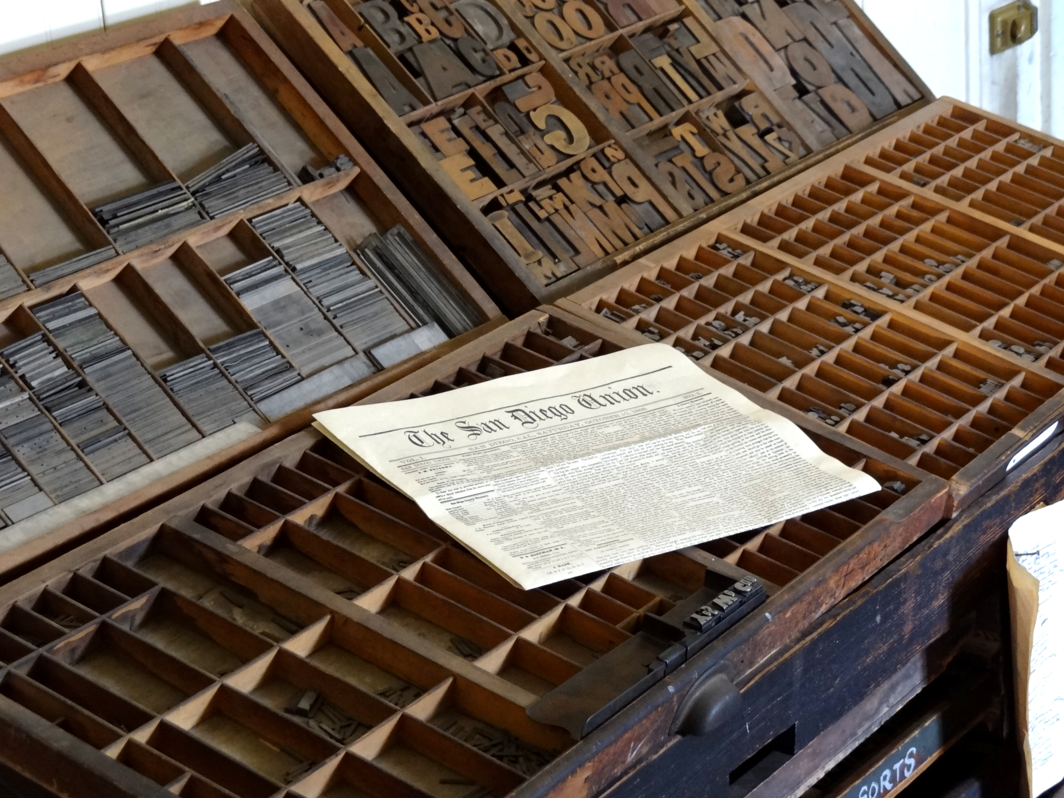 FileHandset Press With Copy Of San Diego Union Newspaper
