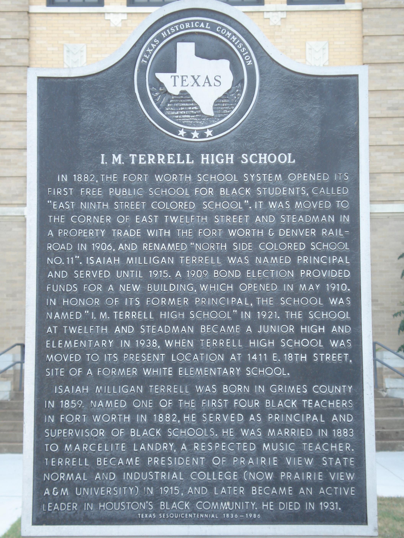 FileIM Terrell High School Historical Marker Ft Worth TXJPG