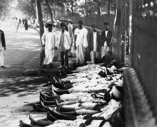 Indian workers on strike in support of Gandhi in 1930.