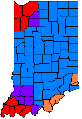 indiana time counties