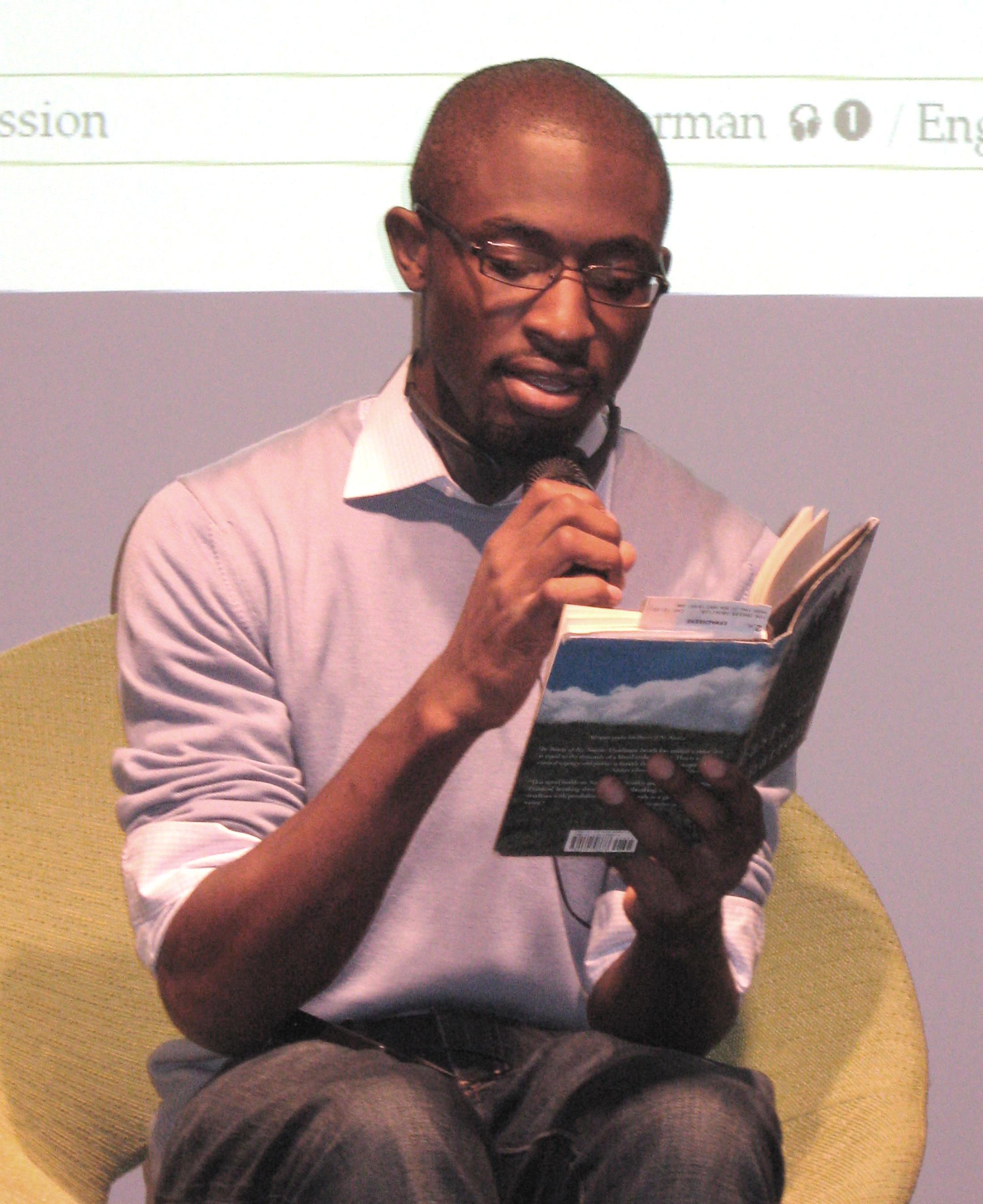 Uzodinma Iweala during a public reading at the [[Frankfurt Book Fair