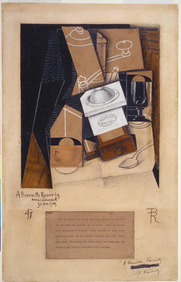 file juan gris moulin caf tasse et verre sur une. Black Bedroom Furniture Sets. Home Design Ideas