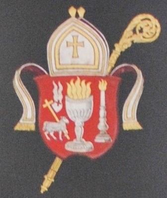 Kalmar stifts vapen målat 1985 av Bengt Olof Kälde i 1700-talsstil för domkyrkans series episcoporum-tavla.
